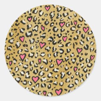 Leopardherz-/Leopardtierdruckrosaherz Runder Aufkleber