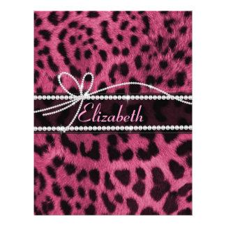 Leopardtierpelz des heißen Rosas des Imitats des 21,6 X 27,9 Cm Flyer