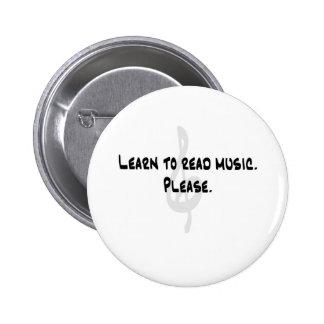 Lernen Sie, Musik zu lesen Runder Button 5,7 Cm