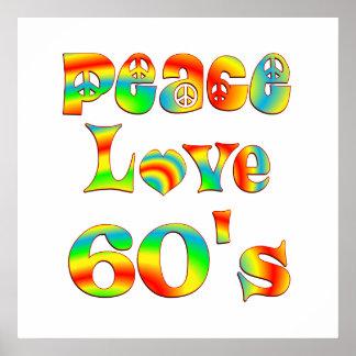 Les années 60 d'amour de paix poster