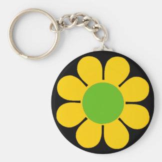Les années 60 jaunes flower power porte-clef