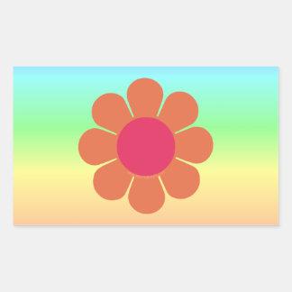 les années 70 flower power stickers en rectangle