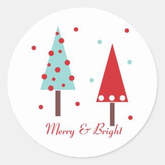 Les arbres de Noël lunatiques conçoivent les Adhésifs Ronds