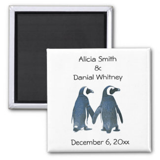 Les couples de pingouin sauvent l'aimant de date magnet carré