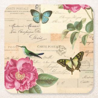 Les dessous de verre vintages Girly avec l'oiseau, Dessous-de-verre Carré En Papier