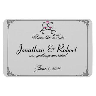 Les deux mariés mignons embrassant le mariage gai magnets en vinyle