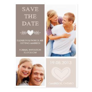 Les griffonnages rustiques de coeur sauvent la carte postale