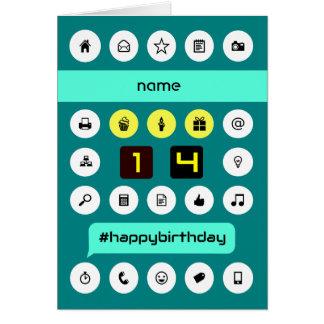 les icônes de calcul du 14ème anniversaire carte de vœux