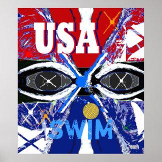 Les nouveaux 2013 Etats-Unis frais nageant affiche