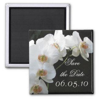 Les orchidées blanches sauvent l'aimant de date magnet carré