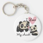 Les pandas I aiment ma tante Porte-clé Rond