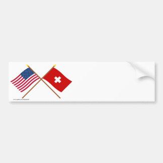 Les USA et drapeaux croisés par Suisse Autocollant De Voiture
