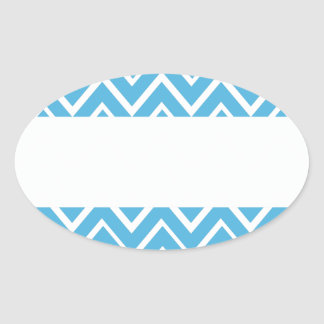 Les zigzags lunatiques bleus zigzaguent motif de sticker ovale