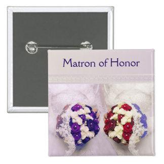 Lesbische Blumenstrauß-Braut-Matrone des Quadratischer Button 5,1 Cm