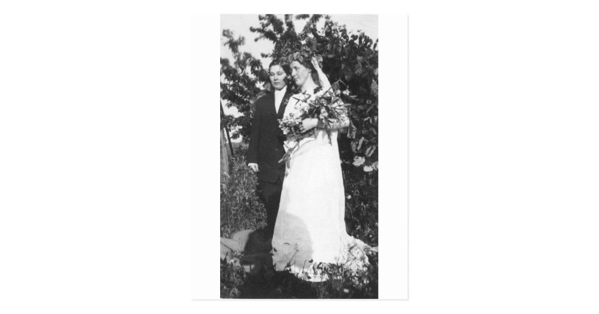 Lesbische Hochzeit circa 1920 Postkarte   Zazzle.ch