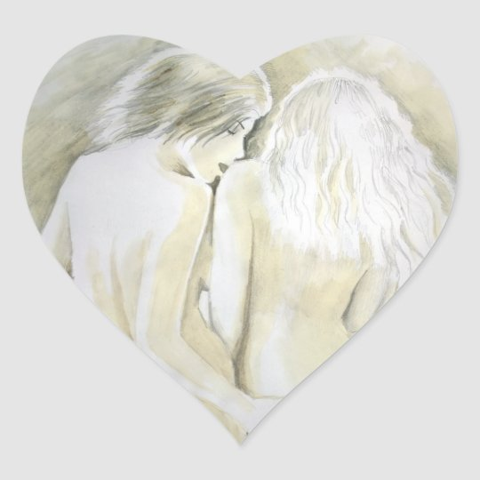 Lesbische Liebhaber Herz-Aufkleber