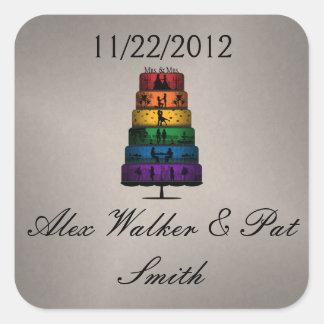 Lesbische Stolz-Hochzeitstorte Quadratischer Aufkleber