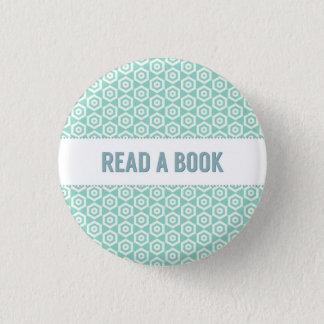 Lesen Sie einen Buchknopf, auf Aqua Runder Button 3,2 Cm