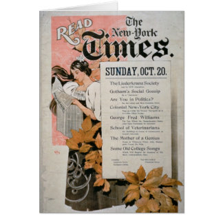 """Lesen Sie New York Times"" (Farbelitho) Karte"