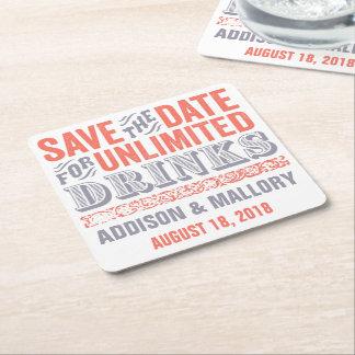 Letterprint unbegrenzter Getränk-Save the Date Rechteckiger Pappuntersetzer