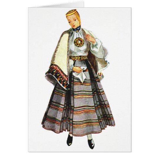 Lettische traditionelle Kostümgrußkarten Mitteilungskarte