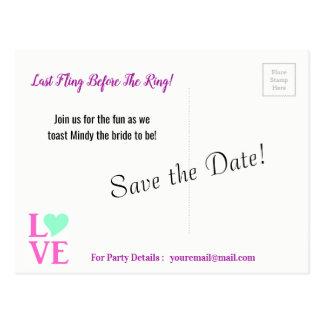 Letzter Fling vor den Ring-Save the Date Postkarte