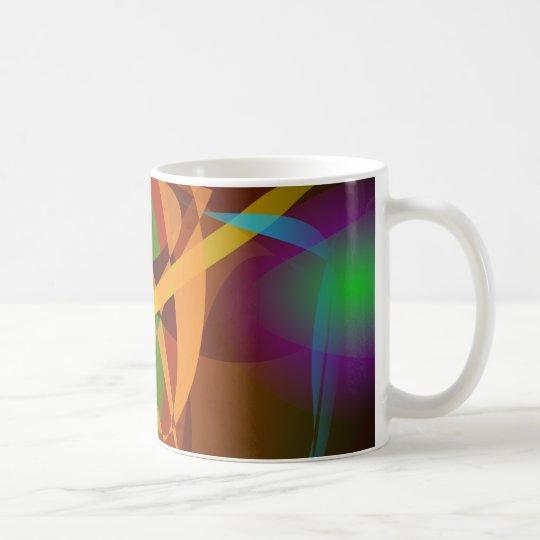 Leuchtende abstrakte Kunst Browns Digital Tasse