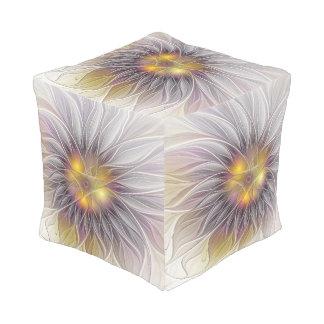 Leuchtende bunte Blume, abstraktes modernes Kubus Sitzpuff