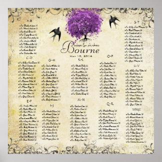Leuchtende lila Herz-Blatt-Baum-Hochzeit Poster
