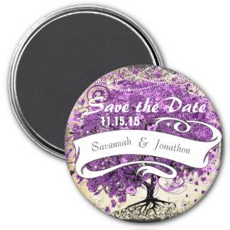 Leuchtende lila romantische Herz-Blatt-Hochzeit Runder Magnet 7,6 Cm