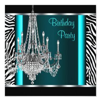 Leuchteraquamarines blaues Zebra-Geburtstags-Party Quadratische 13,3 Cm Einladungskarte