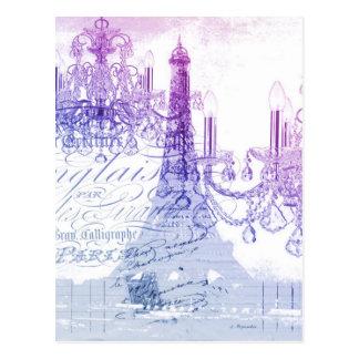 Leuchterparis Eiffel des Chic französischer lila Postkarte