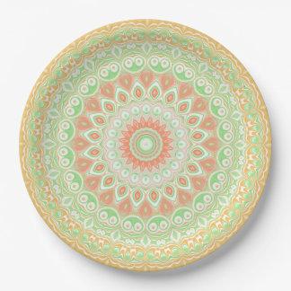 Leuchtorange-und Grün-Sommer-Kaleidoskop Pappteller 22,9 Cm