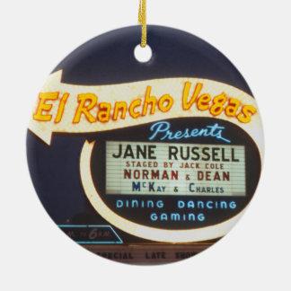 Leuchtreklame-Las Vegas-Kasino 1959 EL Rancho Rundes Keramik Ornament