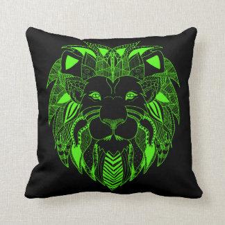 Leuchtstoff grüner und schwarzer Löwe Kissen