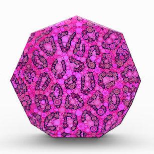 Leuchtstoff rosa Gepard-Muster Acryl Auszeichnung