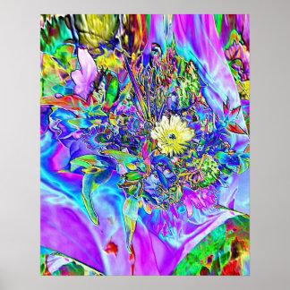 Leuchtstoffblau, Lavendel u. gelbes Blumenplakat Poster