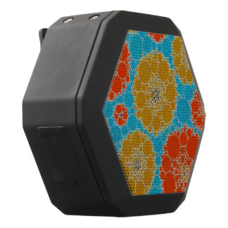 Leuchtstofftürkis-orange abstrakte Blumen Schwarze Bluetooth Lautsprecher