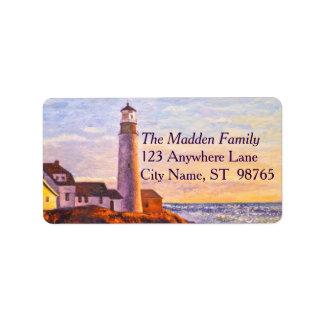 Leuchtturm am Sonnenaufgang-Adressen-Etikett Adressaufkleber