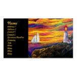 Leuchtturm am Sonnenuntergang mit Segelboot Visitenkarten Vorlagen
