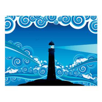 Leuchtturm im Meer 5 Postkarte