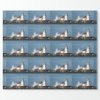 Leuchtturm mit Wellen-Packpapier Geschenkpapier