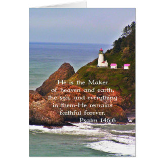 Leuchtturm-Ozean-Meer christliches Creationarts Mitteilungskarte