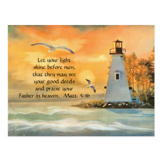 Leuchtturm-Seemöwe-christliche Postkarte