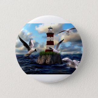 Leuchtturm-Vogel-Fliegen Runder Button 5,1 Cm