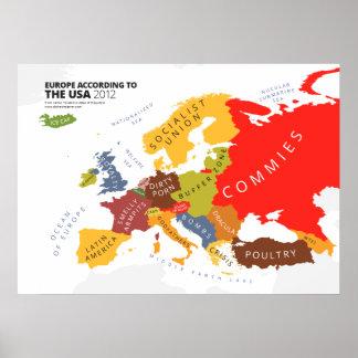 L'Europe selon les Etats-Unis Poster