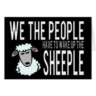 Leute und Sheeple - politischer Humor Grußkarte