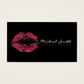 Lèvres de rouge de maquilleur cartes de visite