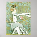 Lévrier et Madame de Nouveau d'art avec la fleur Posters