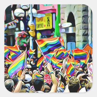 LGBT Regenbogen-und Flagge-Protest-Aufkleber Quadratischer Aufkleber